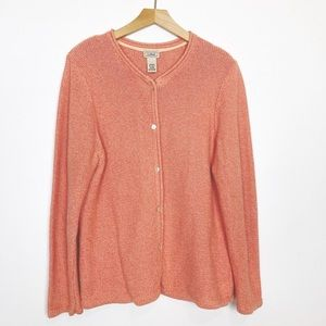 LL Bean cotton knit classic cardigan orange pink